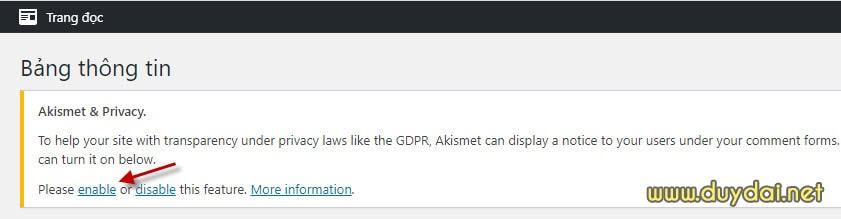 Bật tính năng chống spam của Akismet
