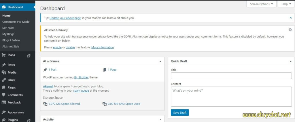 Hướng dẫn sử dụng blog wordpress