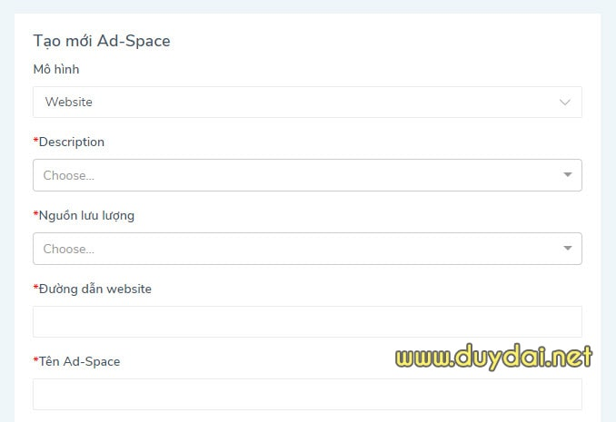 Cách tạo Ad Space trên d2c accesstrade