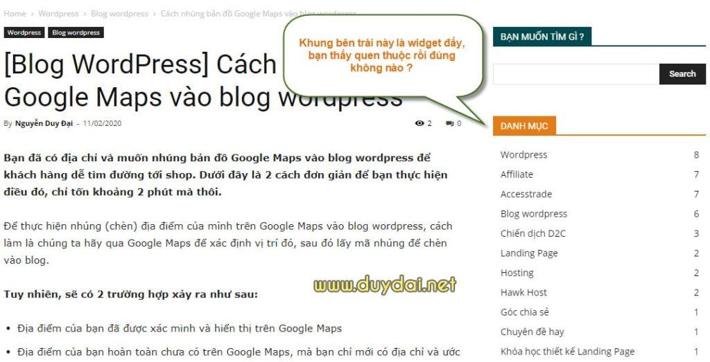 Hướng dẫn sử dụng Widget trên blog wordpress