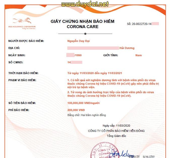 Bảo hiểm Corona Care của LIAN